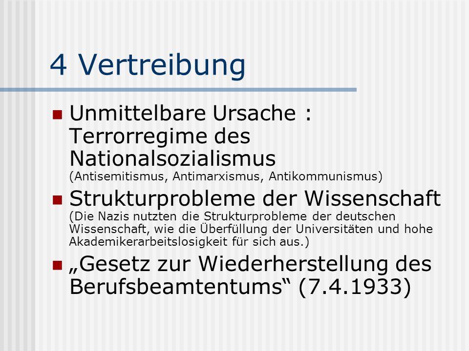 4 Vertreibung Unmittelbare Ursache : Terrorregime des Nationalsozialismus (Antisemitismus, Antimarxismus, Antikommunismus)