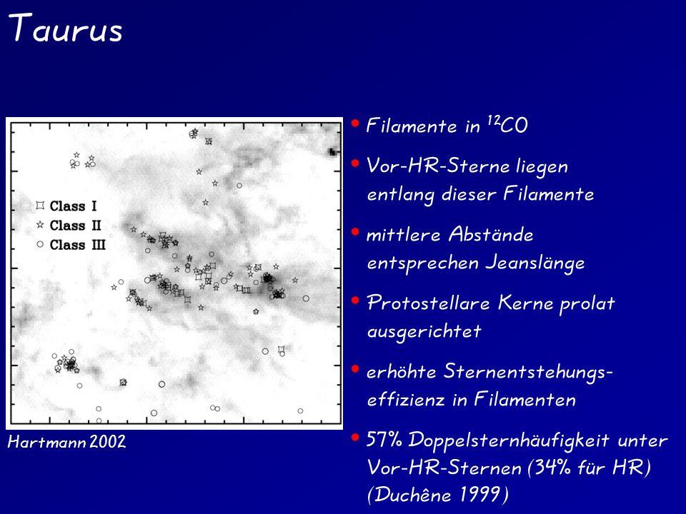 Taurus Filamente in 12CO Vor-HR-Sterne liegen entlang dieser Filamente