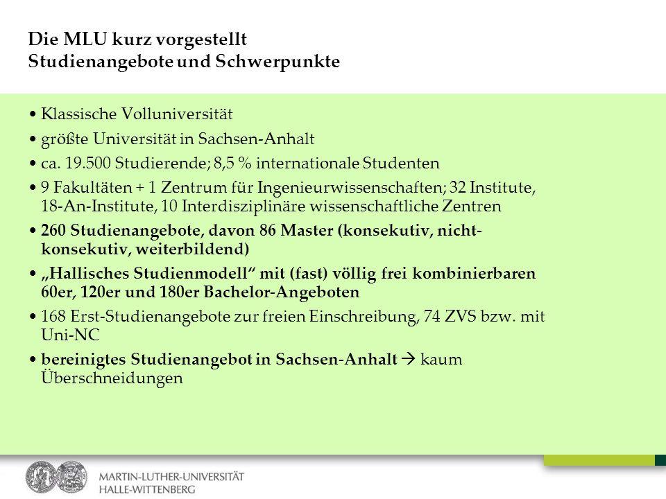 Die MLU kurz vorgestellt Studienangebote und Schwerpunkte