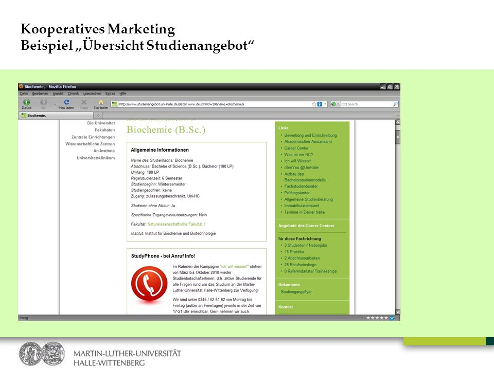 "Kooperatives Marketing Beispiel ""Übersicht Studienangebot"