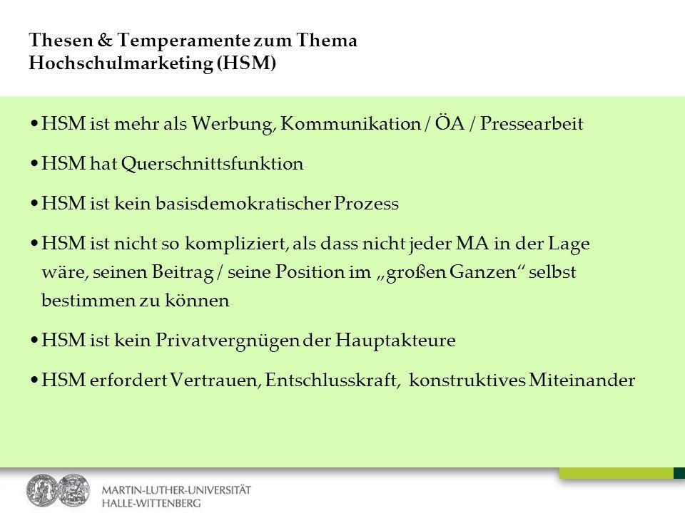 Thesen & Temperamente zum Thema Hochschulmarketing (HSM)