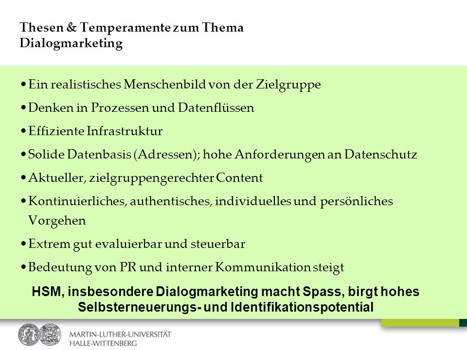 Thesen & Temperamente zum Thema Dialogmarketing
