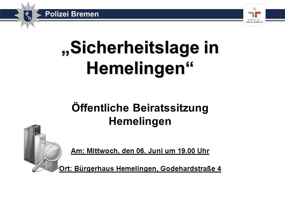 """""""Sicherheitslage in Hemelingen Öffentliche Beiratssitzung Hemelingen Am: Mittwoch, den 06."""