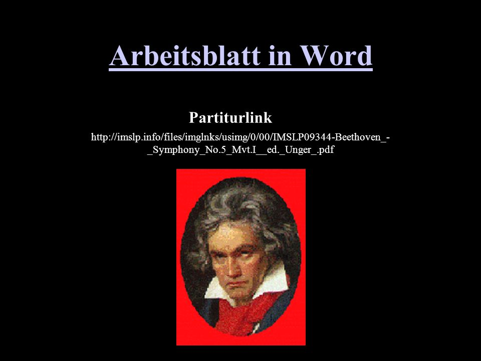 Arbeitsblatt in Word Partitur Partiturlink