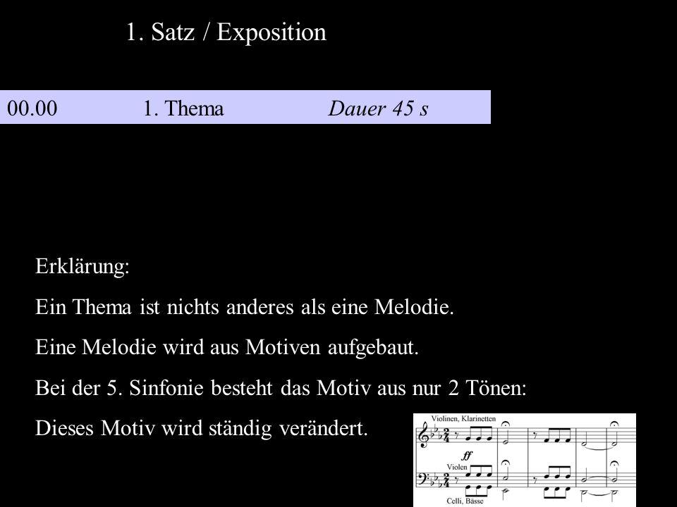 1. Satz / Exposition 00.00 1. Thema Dauer 45 s Erklärung: