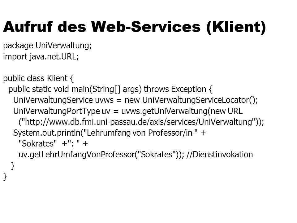 Aufruf des Web-Services (Klient)
