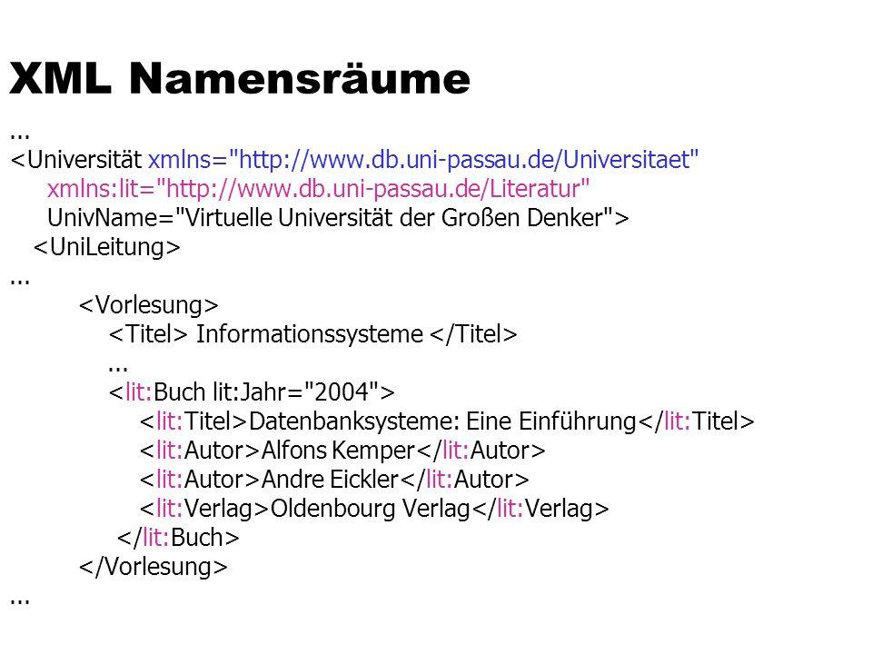 XML Namensräume ... <Universität xmlns= http://www.db.uni-passau.de/Universitaet xmlns:lit= http://www.db.uni-passau.de/Literatur