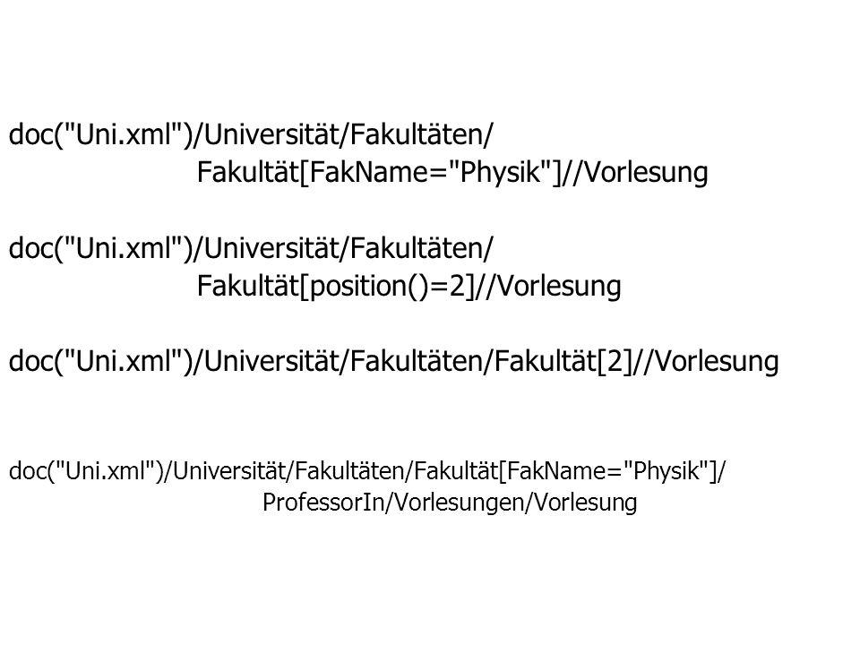 doc( Uni.xml )/Universität/Fakultäten/