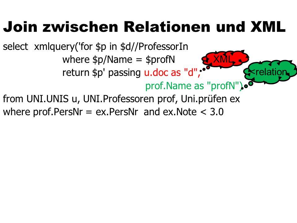 Join zwischen Relationen und XML