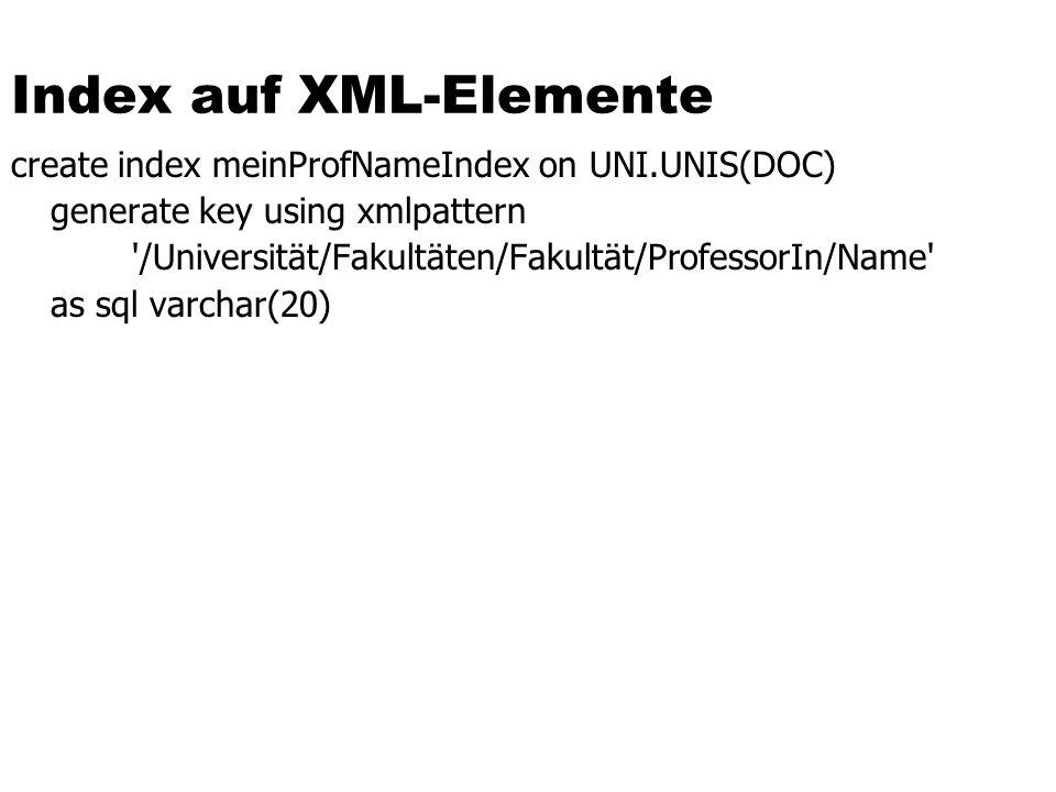 Index auf XML-Elemente