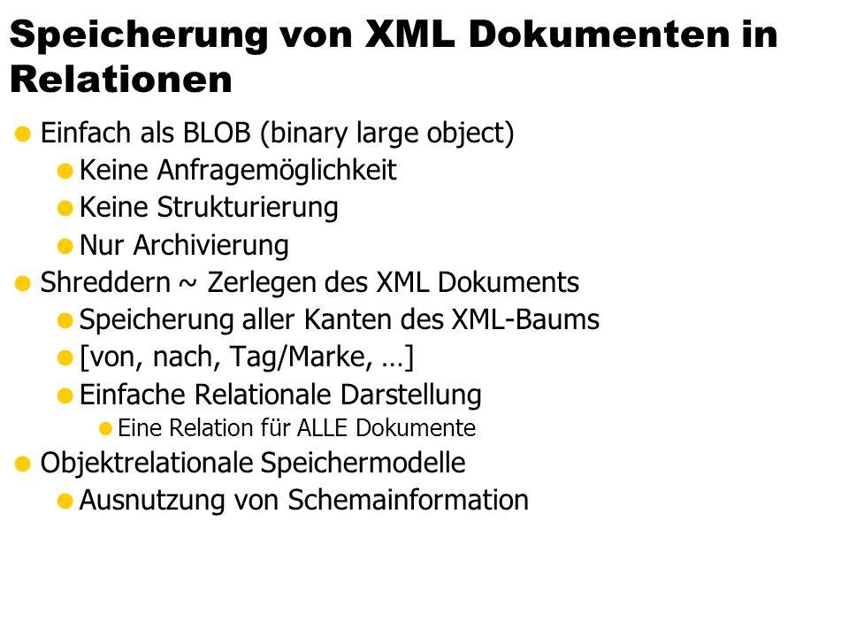 Speicherung von XML Dokumenten in Relationen