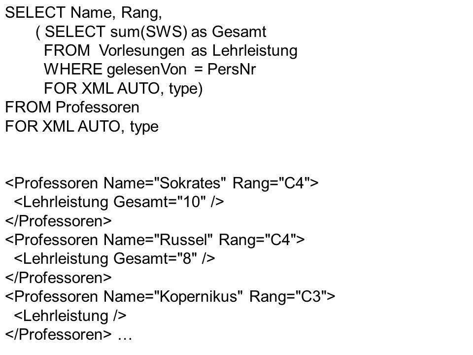 SELECT Name, Rang,( SELECT sum(SWS) as Gesamt. FROM Vorlesungen as Lehrleistung. WHERE gelesenVon = PersNr.
