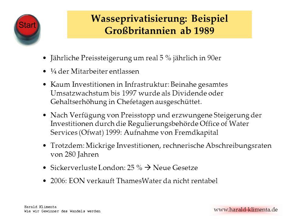 Wasseprivatisierung: Beispiel Großbritannien ab 1989