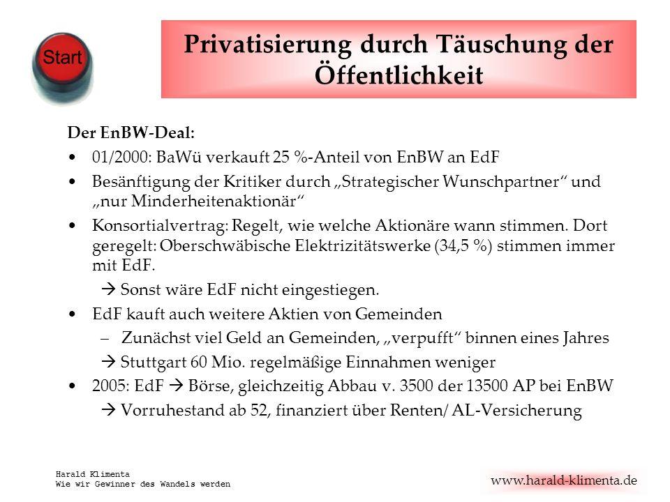 Privatisierung durch Täuschung der Öffentlichkeit