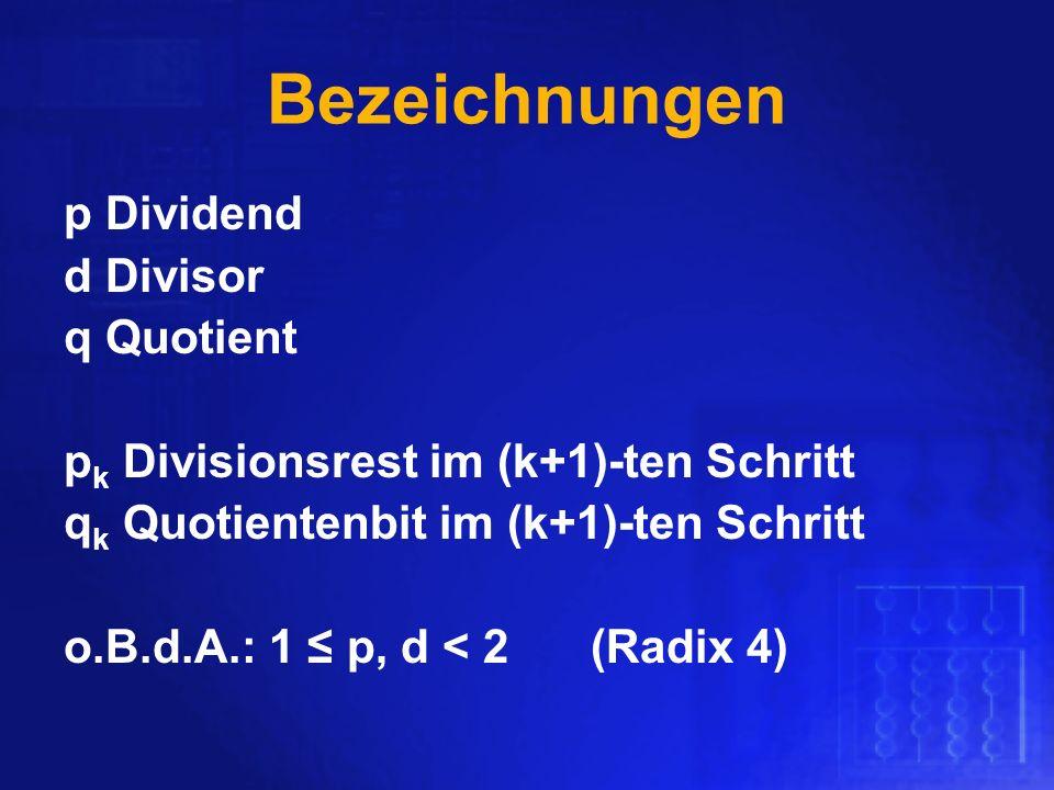 Bezeichnungen p Dividend d Divisor q Quotient