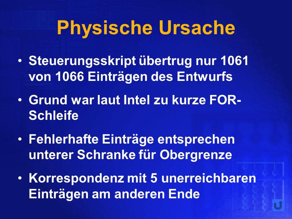Physische Ursache Steuerungsskript übertrug nur 1061 von 1066 Einträgen des Entwurfs. Grund war laut Intel zu kurze FOR-Schleife.
