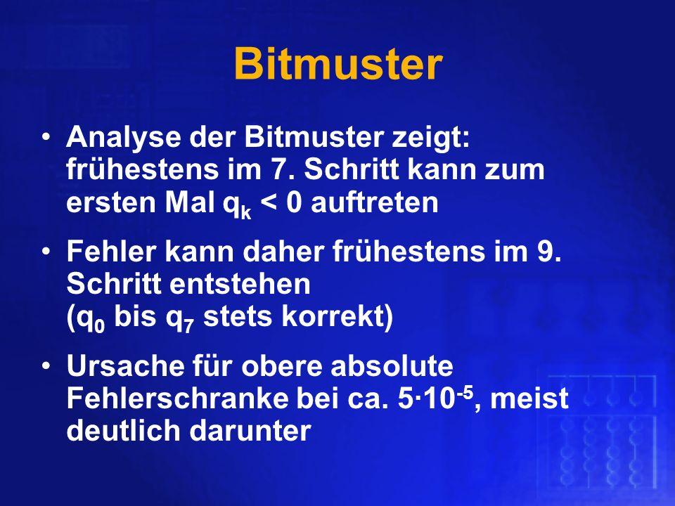 Bitmuster Analyse der Bitmuster zeigt: frühestens im 7. Schritt kann zum ersten Mal qk < 0 auftreten.