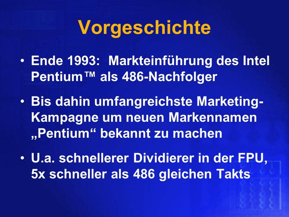 Vorgeschichte Ende 1993: Markteinführung des Intel Pentium™ als 486-Nachfolger.