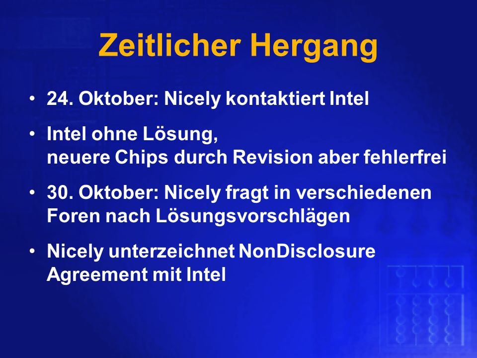Zeitlicher Hergang 24. Oktober: Nicely kontaktiert Intel
