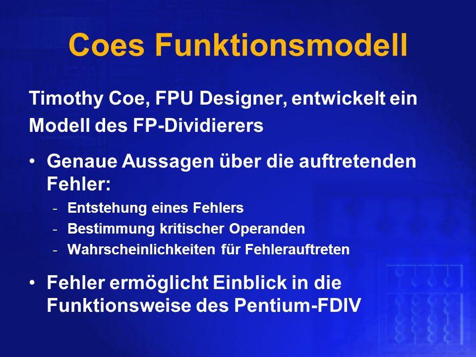 Coes Funktionsmodell Timothy Coe, FPU Designer, entwickelt ein