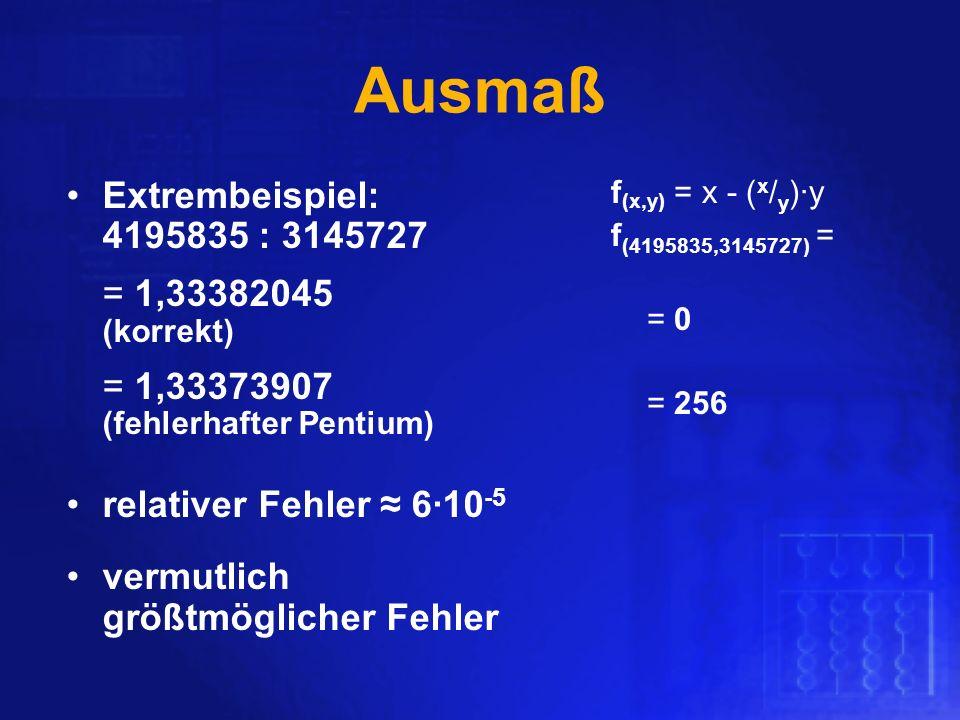 Ausmaß Extrembeispiel: 4195835 : 3145727 relativer Fehler ≈ 6∙10-5