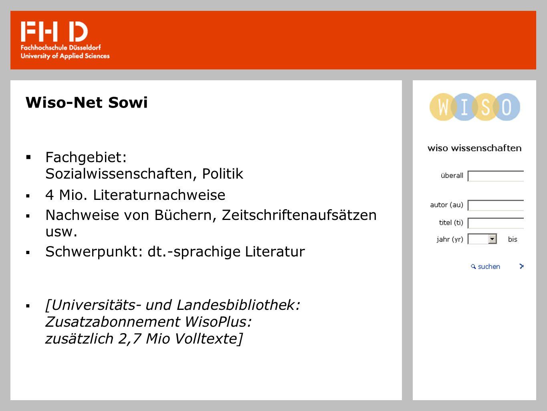 Wiso-Net Sowi Fachgebiet: Sozialwissenschaften, Politik