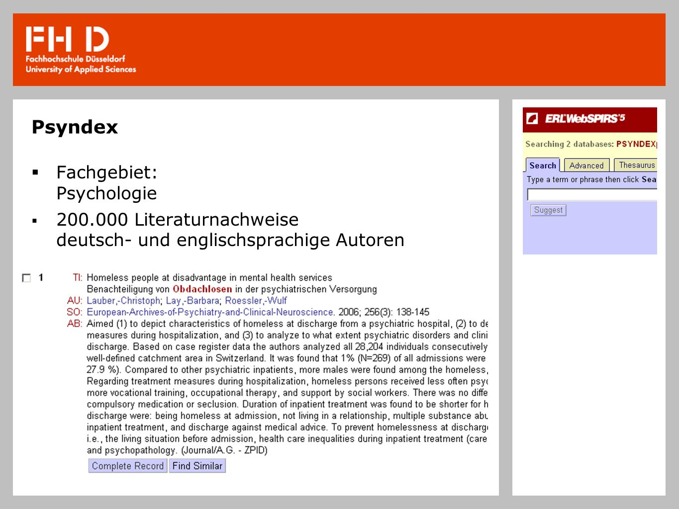 Psyndex Fachgebiet: Psychologie