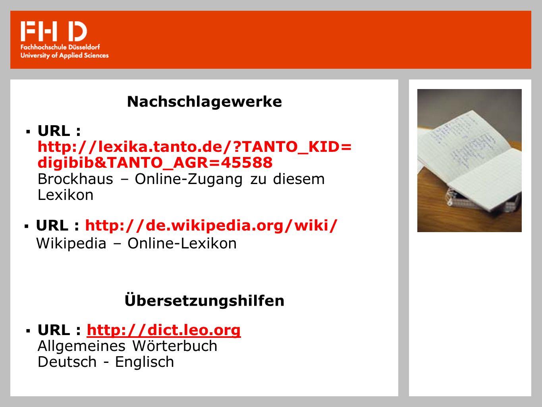 Nachschlagewerke URL : http://lexika.tanto.de/ TANTO_KID= digibib&TANTO_AGR=45588 Brockhaus – Online-Zugang zu diesem Lexikon.