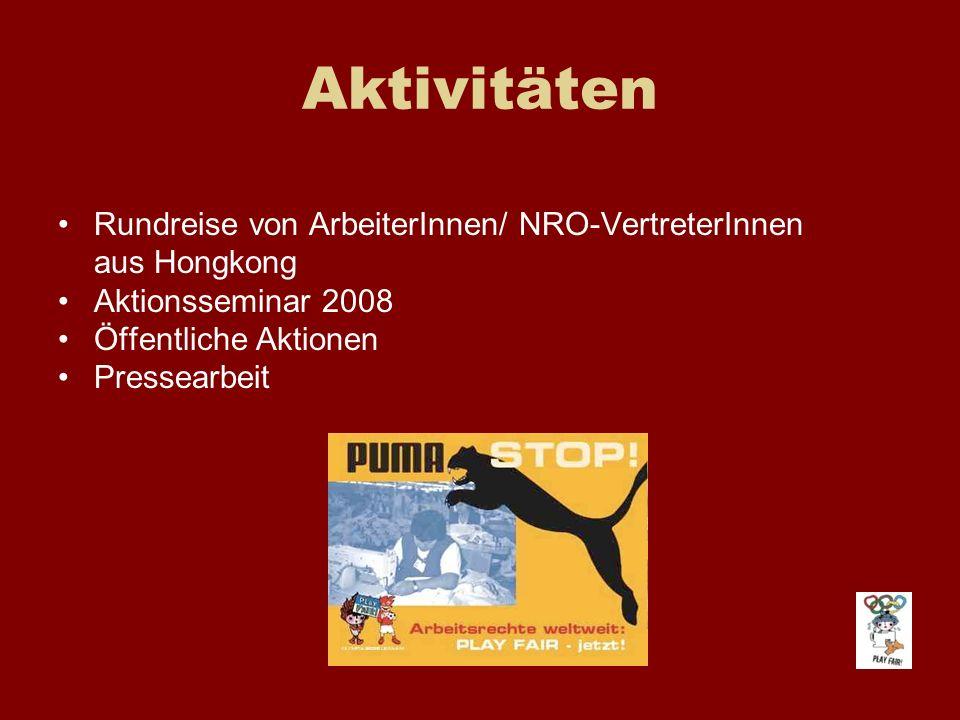 Aktivitäten Rundreise von ArbeiterInnen/ NRO-VertreterInnen