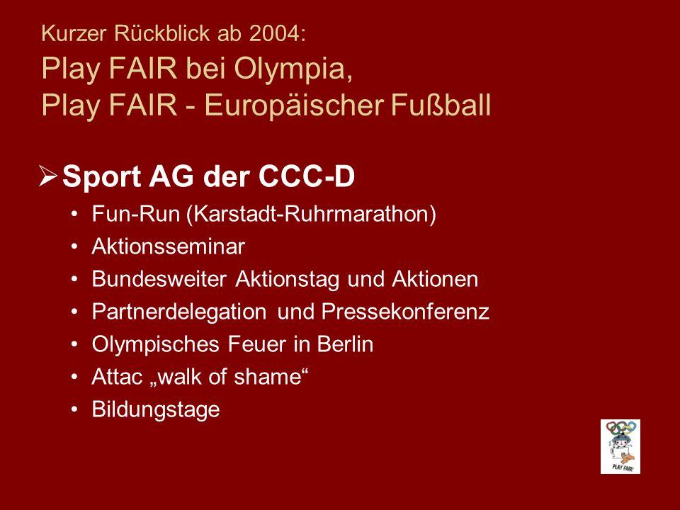 Kurzer Rückblick ab 2004: Play FAIR bei Olympia, Play FAIR - Europäischer Fußball