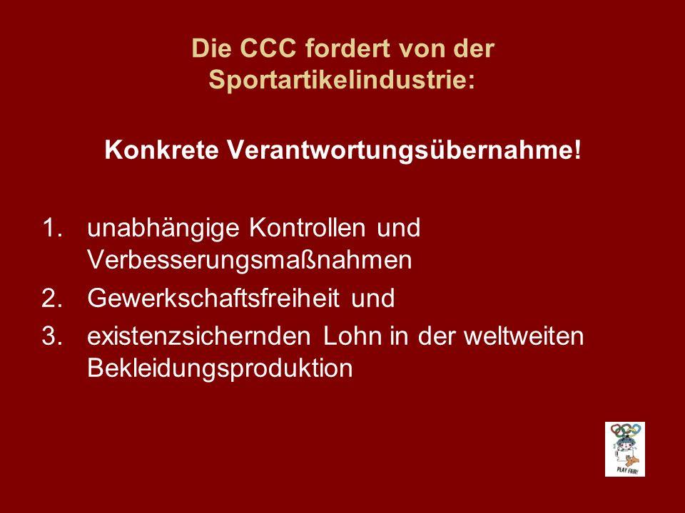 Die CCC fordert von der Sportartikelindustrie: