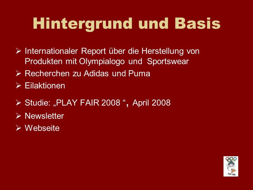 Hintergrund und Basis Internationaler Report über die Herstellung von Produkten mit Olympialogo und Sportswear.