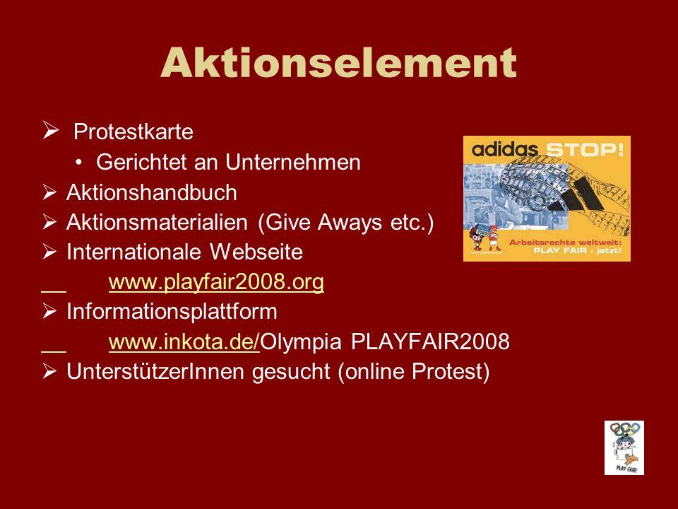 Aktionselement Protestkarte Gerichtet an Unternehmen Aktionshandbuch