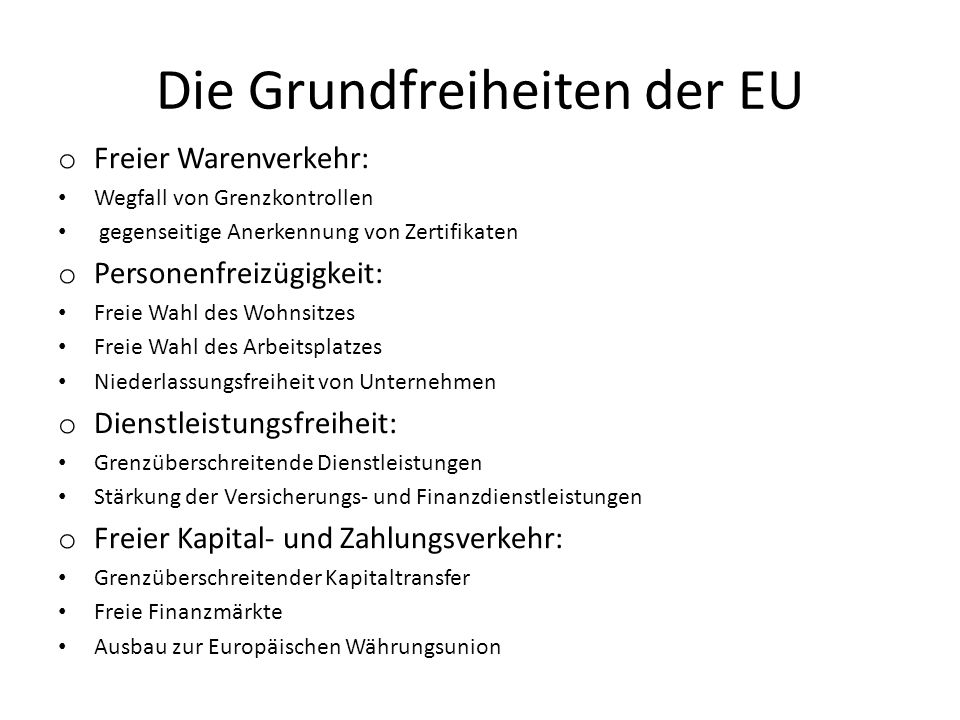 Die Grundfreiheiten der EU