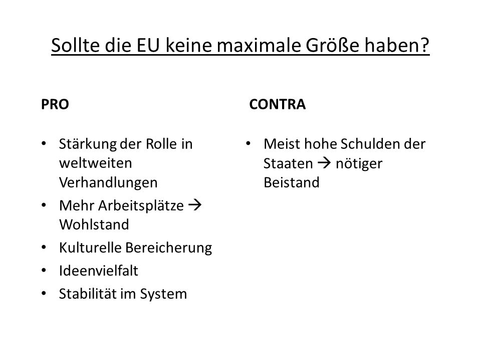 Sollte die EU keine maximale Größe haben