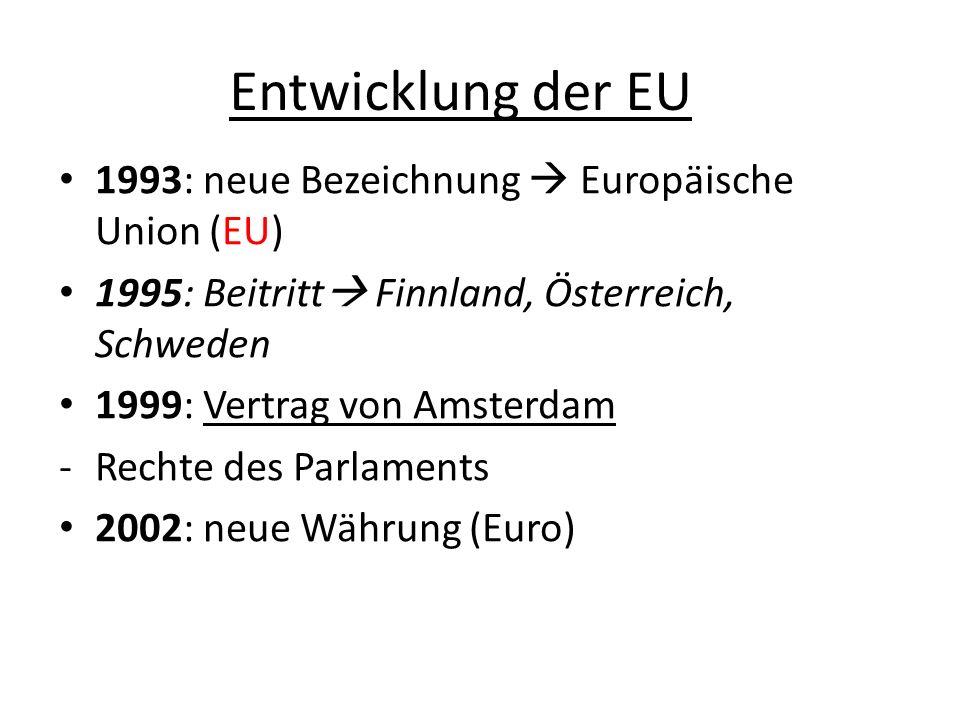 Entwicklung der EU 1993: neue Bezeichnung  Europäische Union (EU)