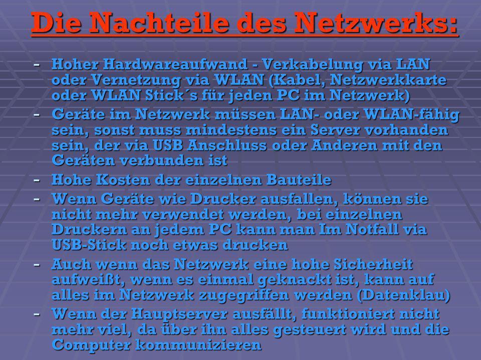 Die Nachteile des Netzwerks: