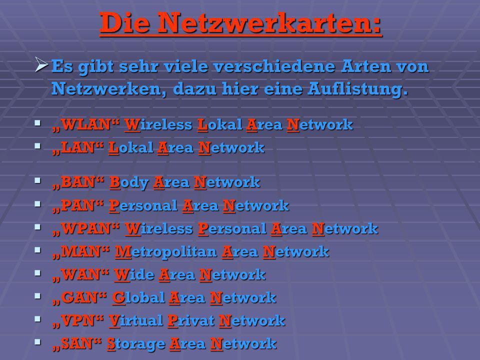 Die Netzwerkarten: Es gibt sehr viele verschiedene Arten von Netzwerken, dazu hier eine Auflistung.