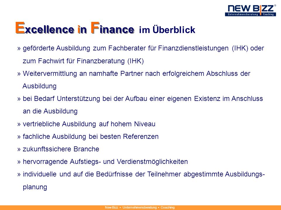 Excellence in Finance im Überblick