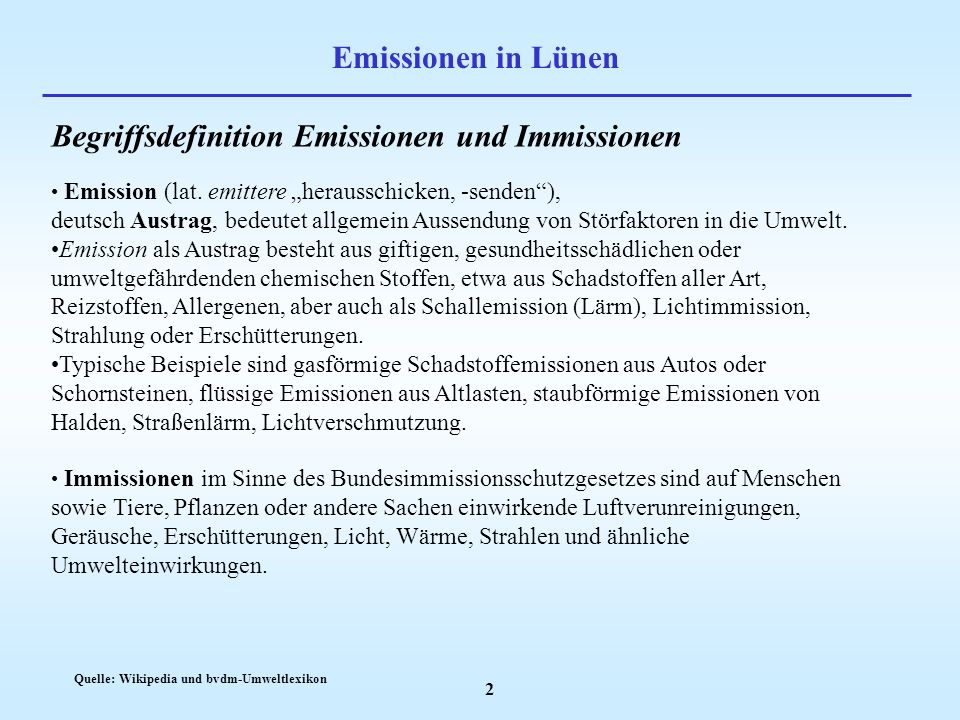 Begriffsdefinition Emissionen und Immissionen