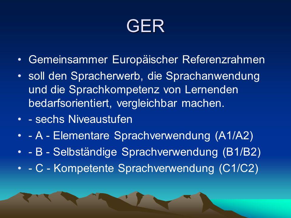 GER Gemeinsammer Europäischer Referenzrahmen