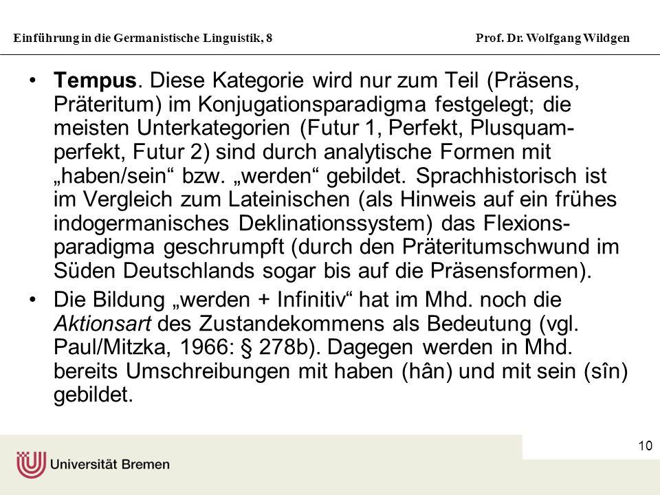 """Tempus. Diese Kategorie wird nur zum Teil (Präsens, Präteritum) im Konjugationsparadigma festgelegt; die meisten Unterkategorien (Futur 1, Perfekt, Plusquam-perfekt, Futur 2) sind durch analytische Formen mit """"haben/sein bzw. """"werden gebildet. Sprachhistorisch ist im Vergleich zum Lateinischen (als Hinweis auf ein frühes indogermanisches Deklinationssystem) das Flexions-paradigma geschrumpft (durch den Präteritumschwund im Süden Deutschlands sogar bis auf die Präsensformen)."""