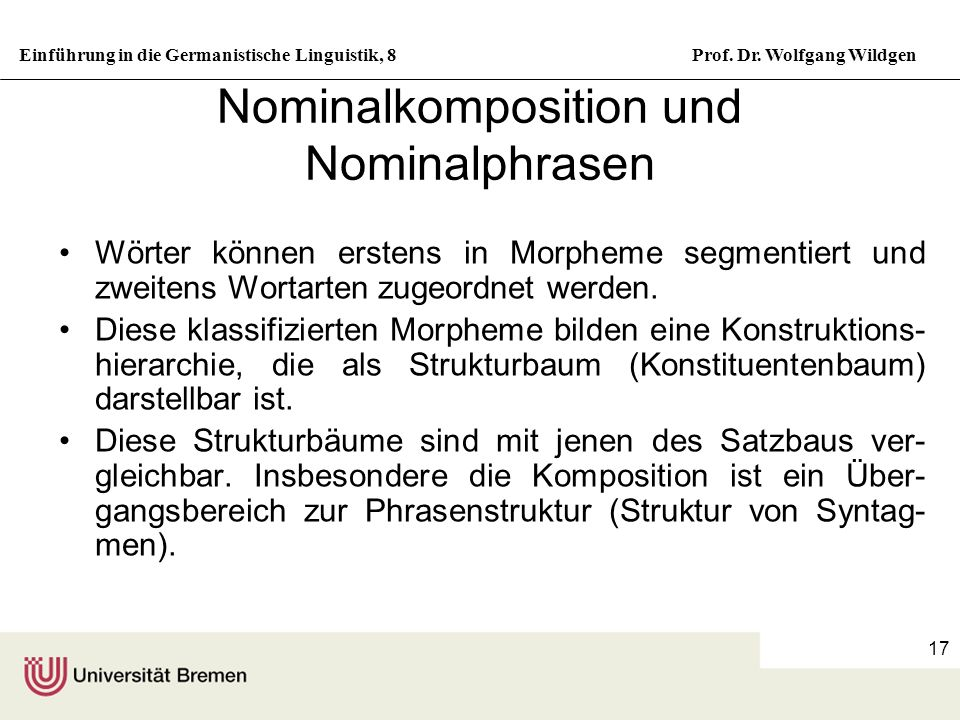 Nominalkomposition und Nominalphrasen