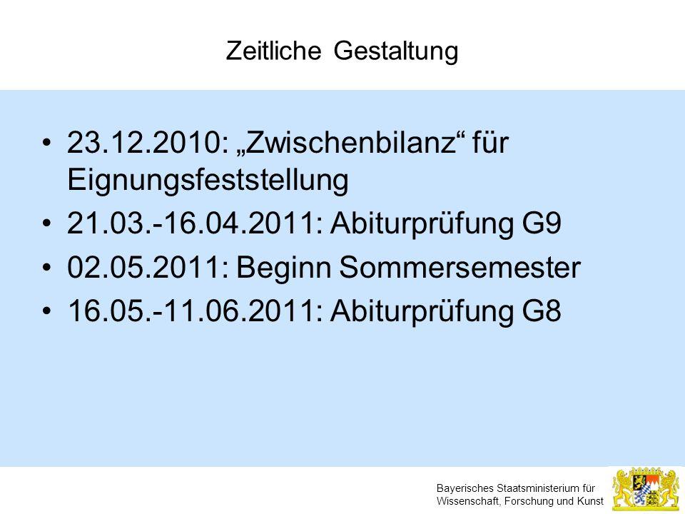 """23.12.2010: """"Zwischenbilanz für Eignungsfeststellung"""