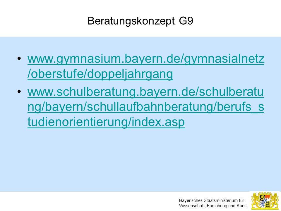 Beratungskonzept G9 www.gymnasium.bayern.de/gymnasialnetz/oberstufe/doppeljahrgang.
