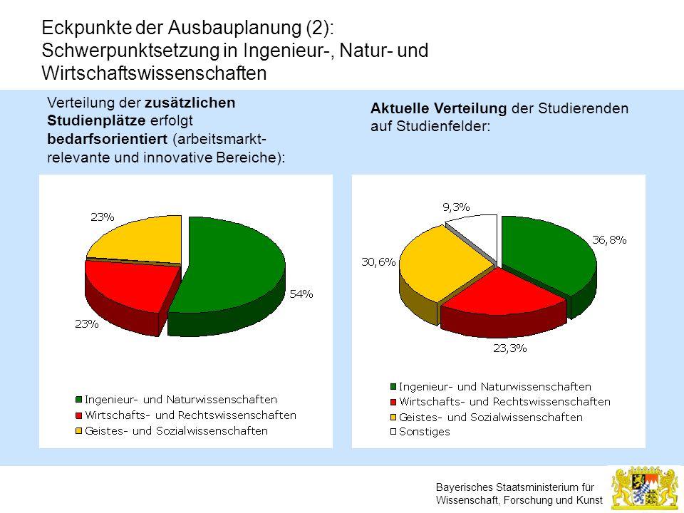 Eckpunkte der Ausbauplanung (2): Schwerpunktsetzung in Ingenieur-, Natur- und Wirtschaftswissenschaften
