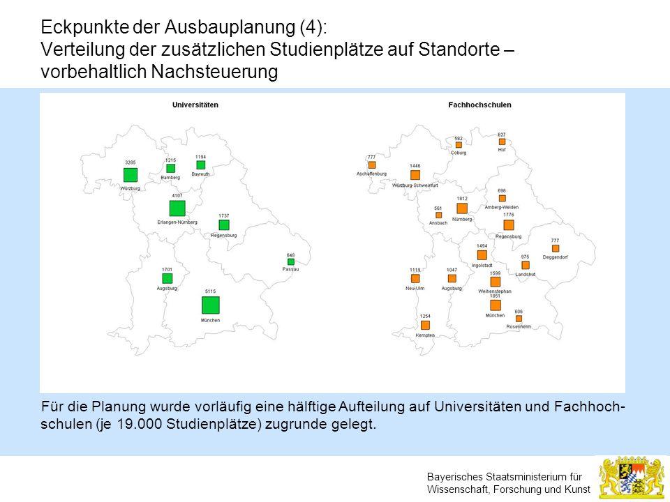 Eckpunkte der Ausbauplanung (4): Verteilung der zusätzlichen Studienplätze auf Standorte – vorbehaltlich Nachsteuerung