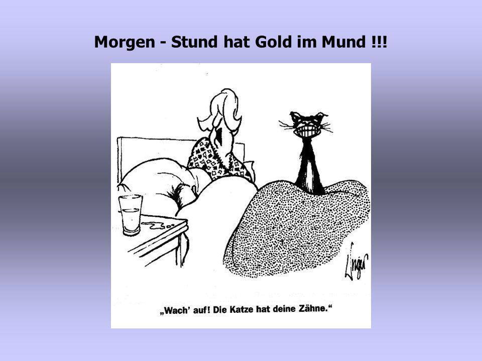 Morgen - Stund hat Gold im Mund !!!