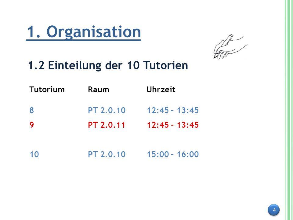 1. Organisation 1.2 Einteilung der 10 Tutorien Tutorium Raum Uhrzeit