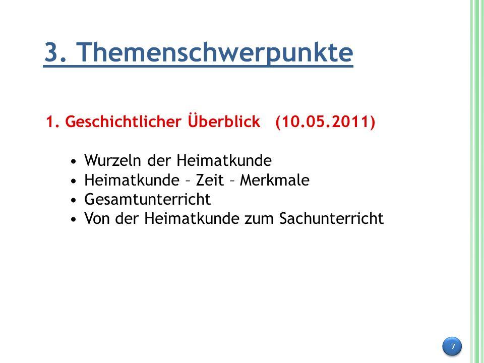 3. Themenschwerpunkte 1. Geschichtlicher Überblick (10.05.2011)